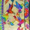 Echarpe soie naif chien oiseaux vs jaune