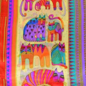 Echarpe soie naif chats orange-violet