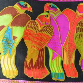Echarpe soie naif pigeons vs noir