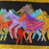 Echarpe soie naif chevaux vs noir