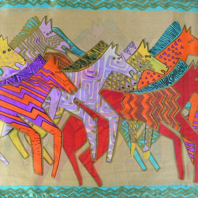Echarpe soie naif chevaux vs beige