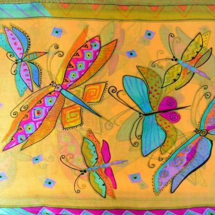 Echarpe soie naif papillons vs jaune