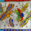 Echarpe soie naif papillons vs blanc
