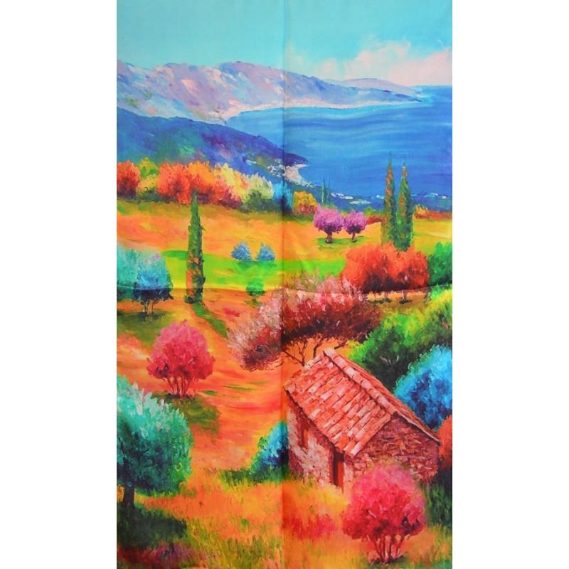 Echarpe en soie tableau paysage d1f778f3940