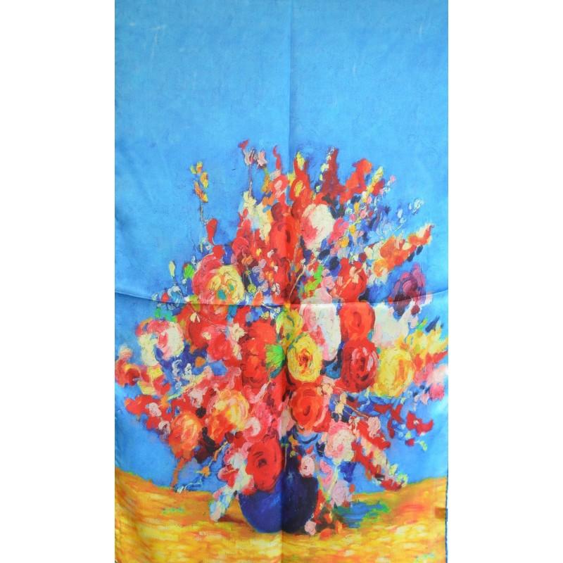 Echarpe en soie tableau bouquet