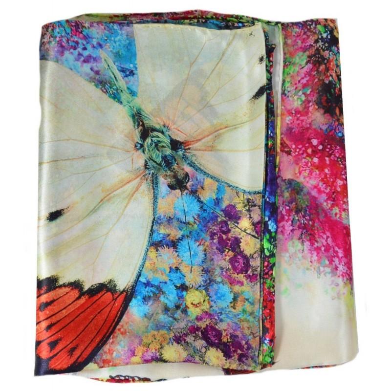 Echarpe en soie tableau papillons bf968e7465a
