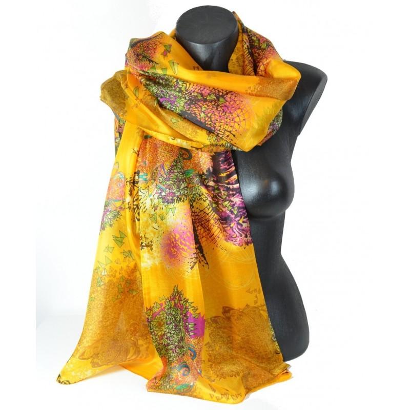 Etole en soie jaune motifs géométriques