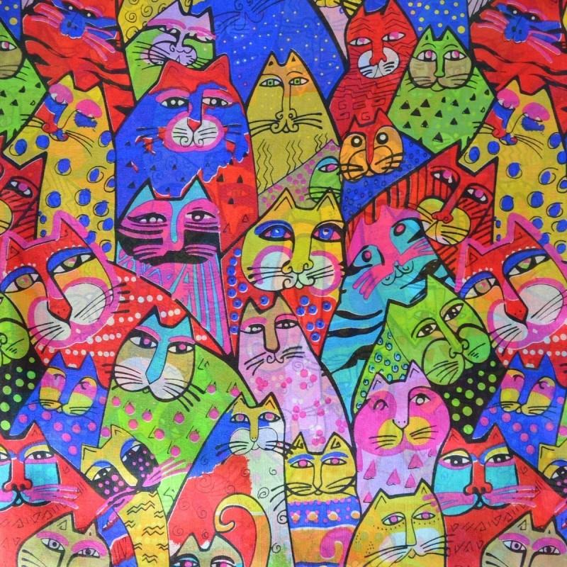 Etole en soie chats bleu-rouge