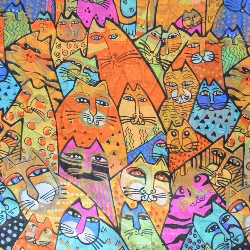 Etole en soie chats orange-turquoise