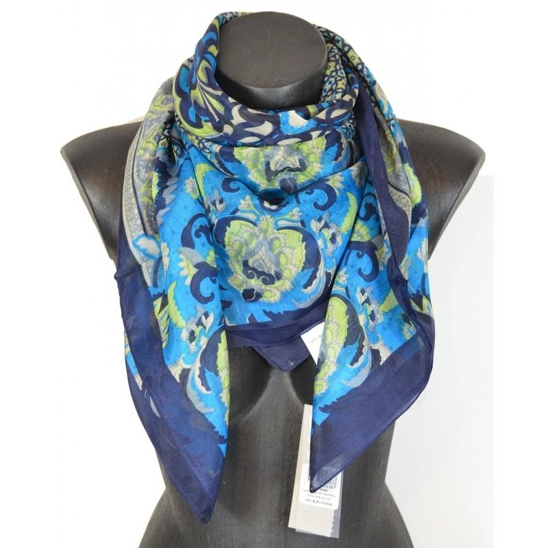 Foulard carré fleurs marine et turquoise