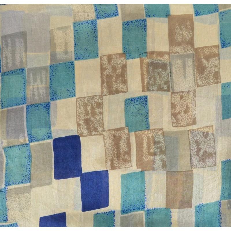 Grand carré Palme rectangle bleu