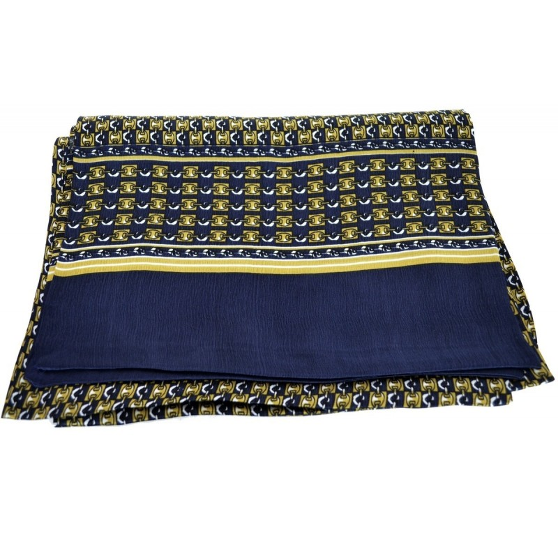 Foulard homme en soie bleu et or chaines