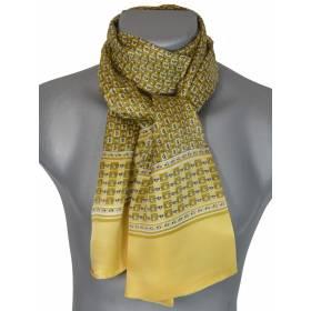 Foulard homme en soie jaune et noir chaines
