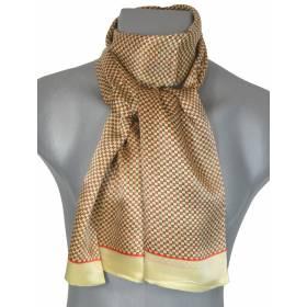 Foulard soie homme petits carrés jaune