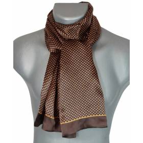 Foulard soie homme petits carrés marron