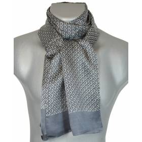 Foulard soie homme maillons gris