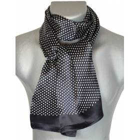 Foulard soie homme pois noir-blanc