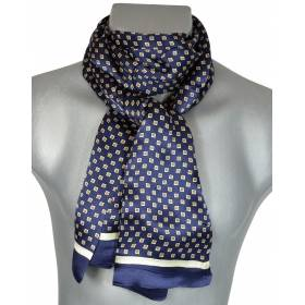 Foulard soie homme cubes bleu
