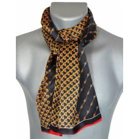 Foulard soie homme noir jaune rouge