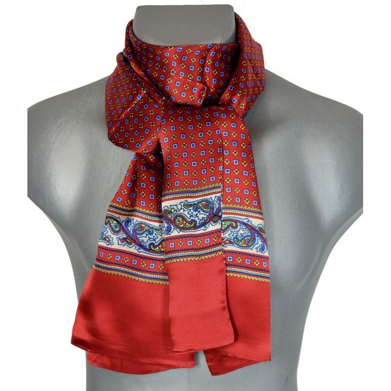 Foulard soie homme rouge frise