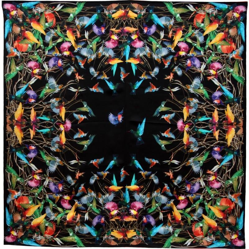 Foulard carré soie noir colibris 37cfc492860
