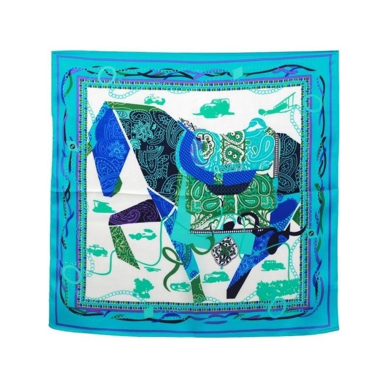 Petit carré en soie grand cheval turquoise