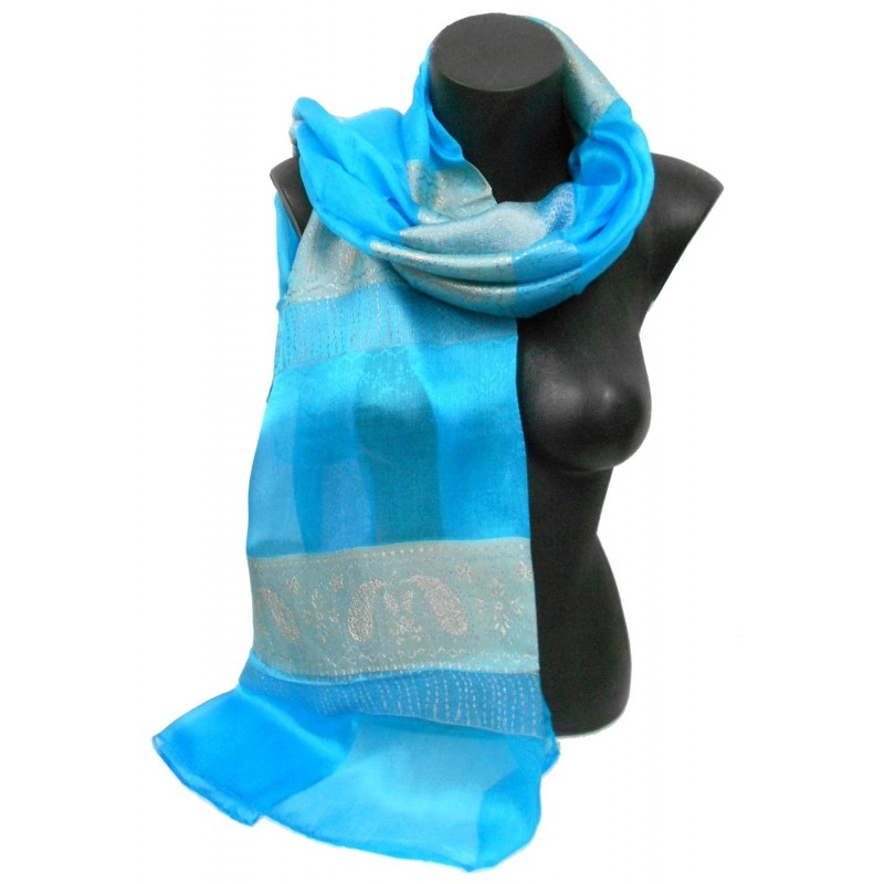Foulard en soie bleu turquoise