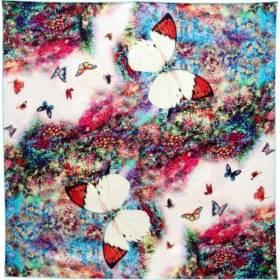 Carré soie impression digitale papillons
