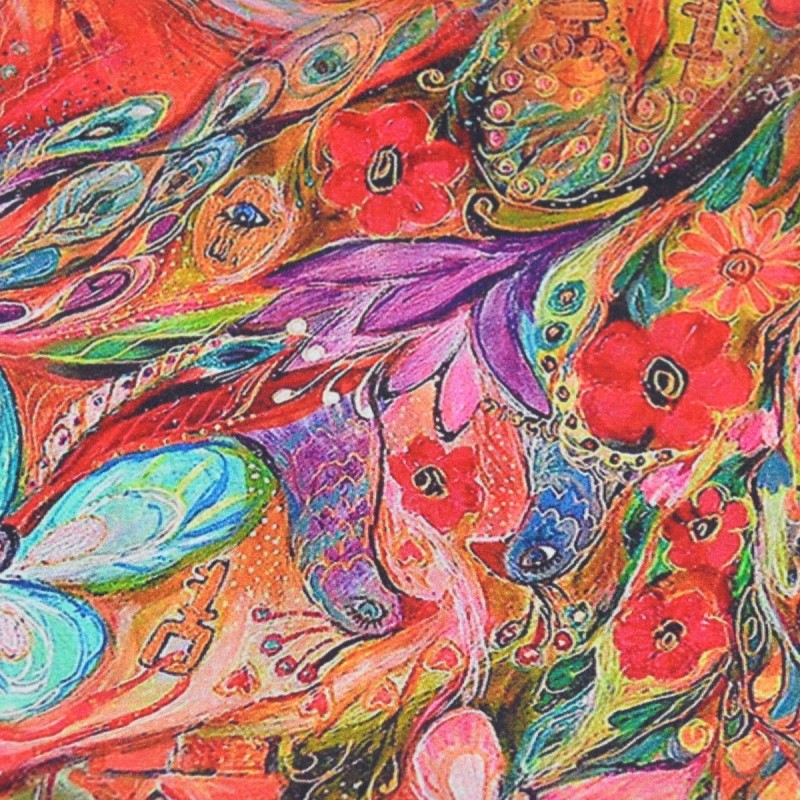 Echarpe en soie papillons fond rouge