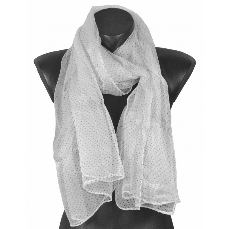 Foulard en mousseline de soie blanc et noir
