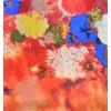 Etole en soie orange à fleurs