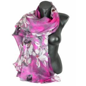 Etole en soie rose et grise à fleurs