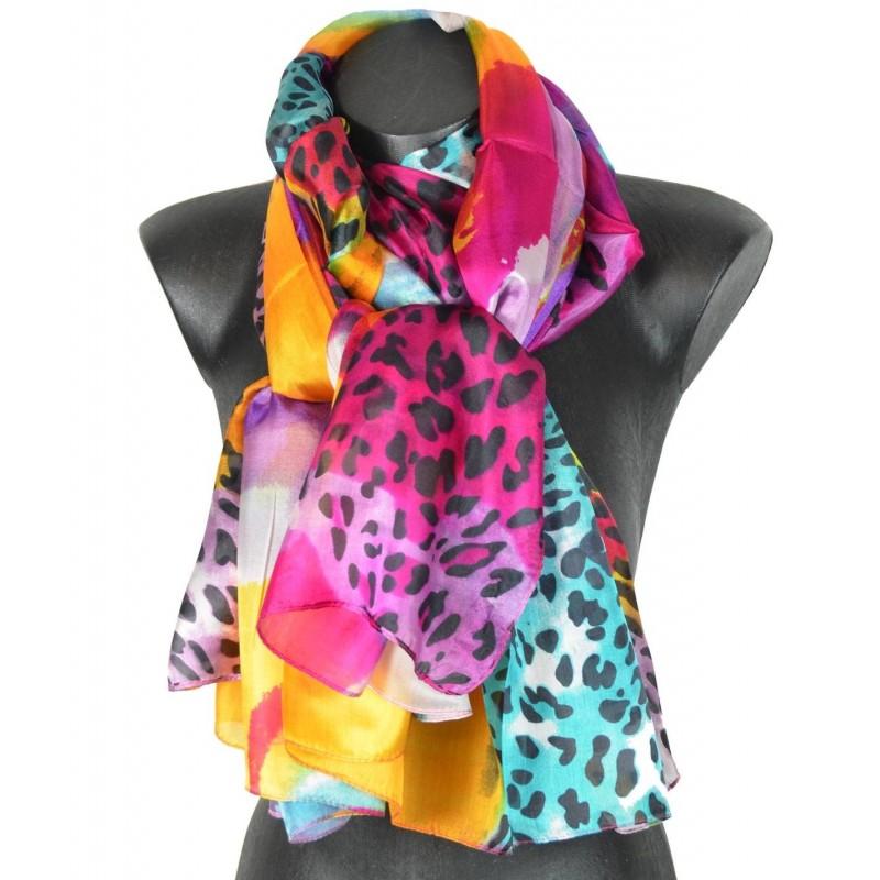 37759ad6b82a Etole en soie multicolore abstrait