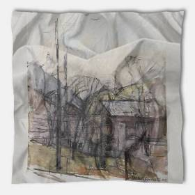 Carré de soie Giacometti, Paysage aux maisons