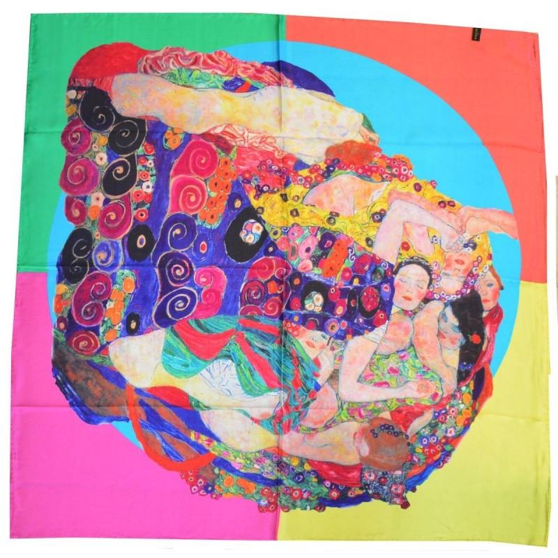 Carré de soie La vierge de Klimt vs rose