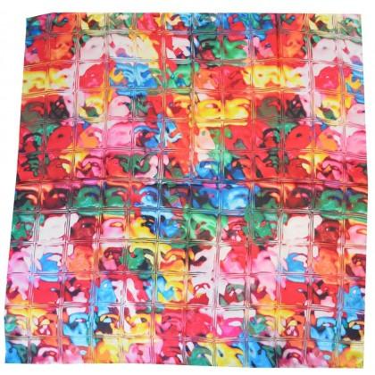 Carré satin de soie carrés multicolores