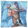 Carré de soie Picasso, Buste de femme au chapeau rayé