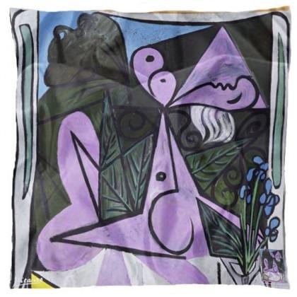 Carré de soie Picasso, Nu au bouquet d'iris de au miroir