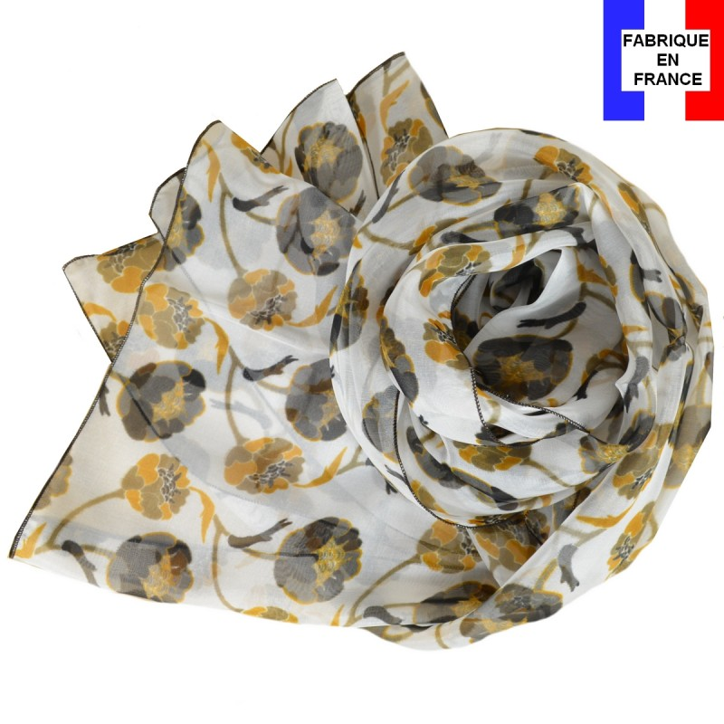 Foulard en soie Bourgeon marron made in France