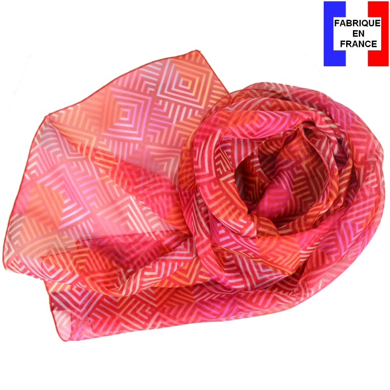 Foulard en soie losanges rose made in France