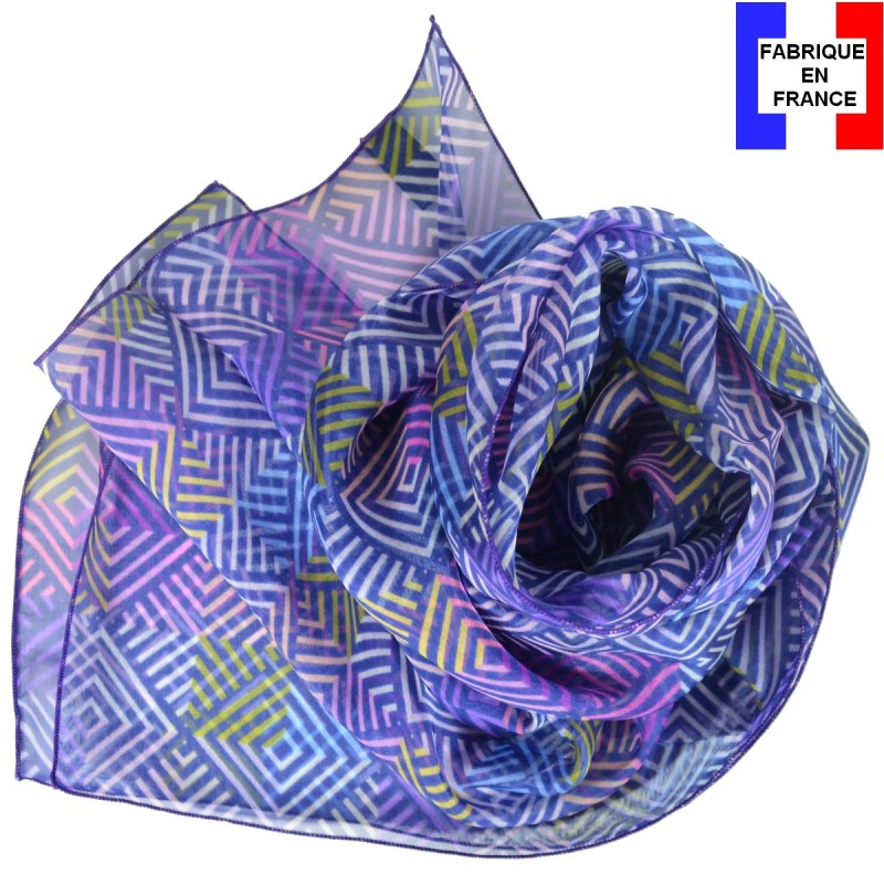 Foulard en soie losanges violet made in France