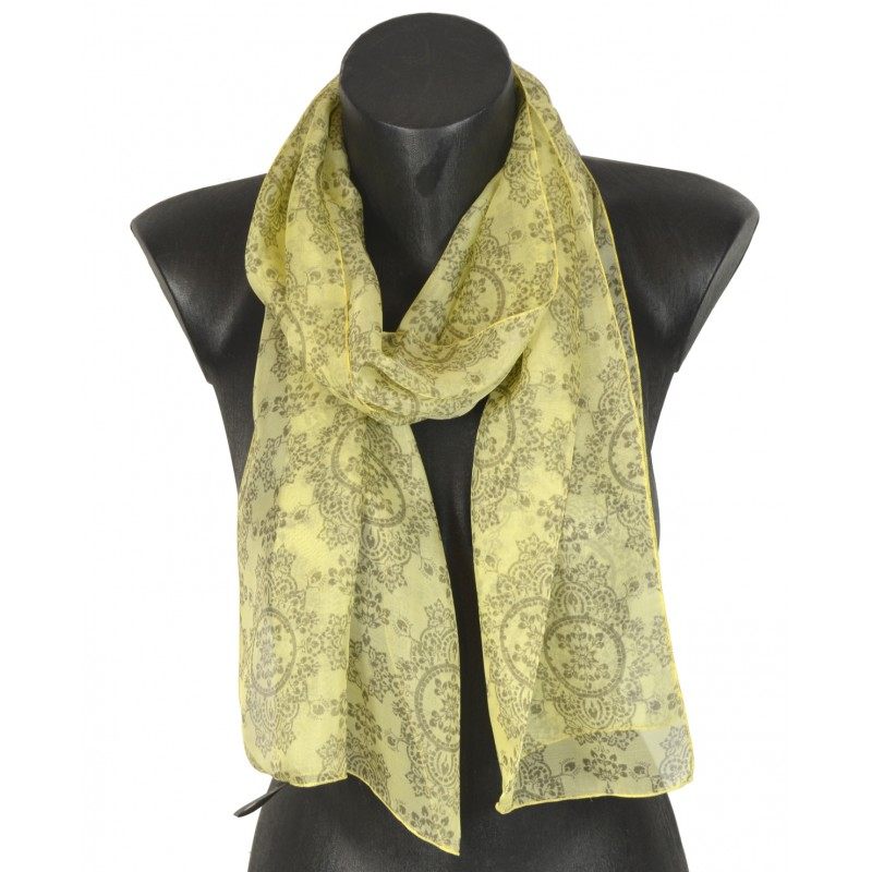 Foulard en soie médaillon jaune made in France