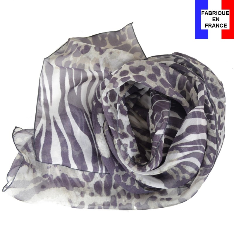 Foulard en soie panthère made in France