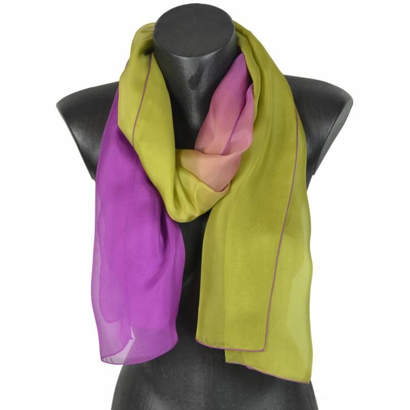 Foulard en soie dégradé violet-kaki