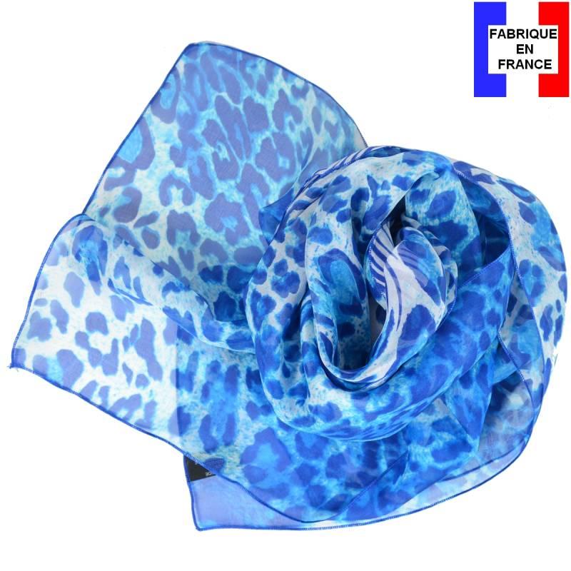 Foulard en soie panthère, bleu made in France