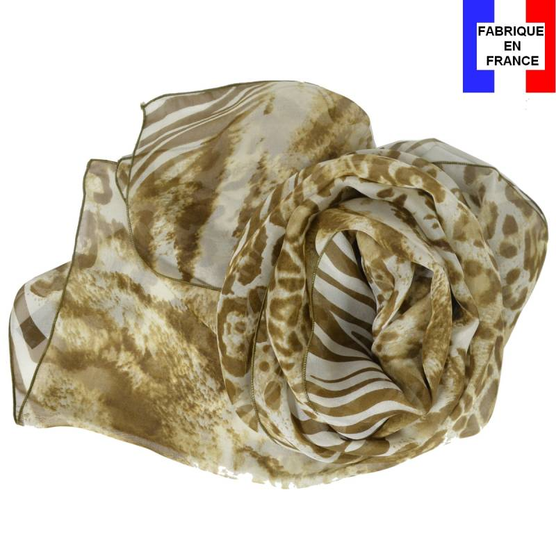 Foulard en soie panthère, marron made in France