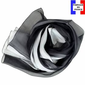 Foulard en soie bicolore, noir et blanc made in France