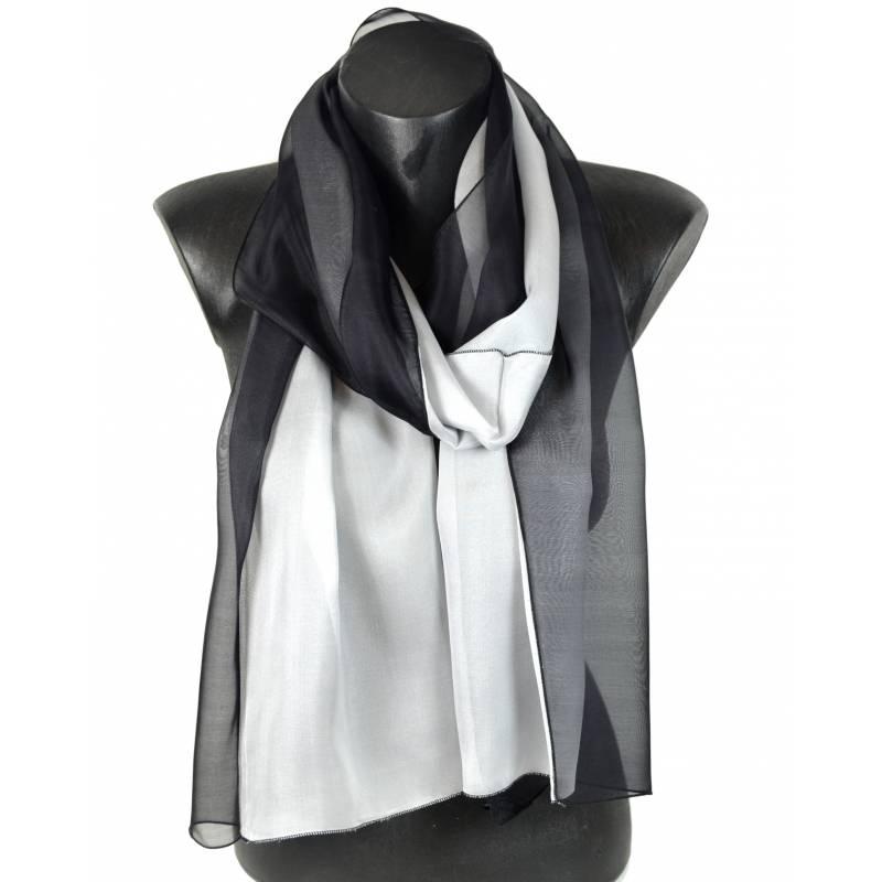 66011f81e419 Foulard en soie bicolore, noir et blanc made in France