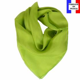 Carré en soie 70cm vert olive made in France