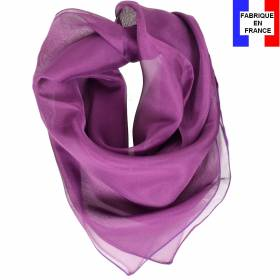 Carré en soie 70cm violet made in France